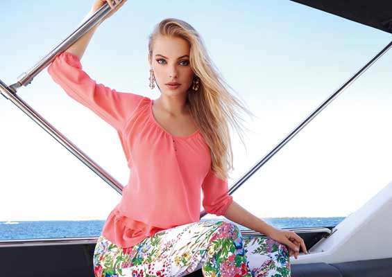 """""""Pretty in Coral"""" top with floral trouser"""