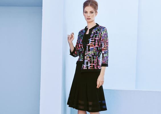 Colorful embroidered mesh jacket & flared mesh skirt