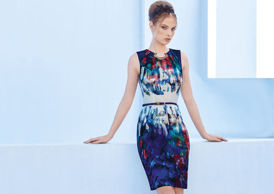 Scuba colorful printed dress with gold detailing