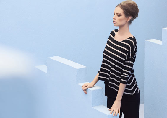 Silky knit striped tunic & trousers