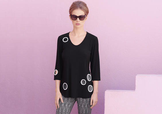 Silky knit tunic & jacquard printed trousers