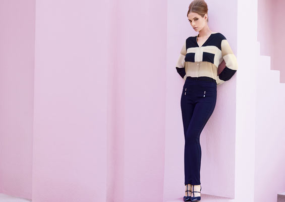 Stunning striped crepe blouse & slim fit trousers